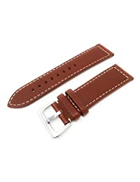 22mm Width Panerai Style Leather Watch Band Original Style stainless Steel Buckle Tan Color Watchband - by JP Leatherworks