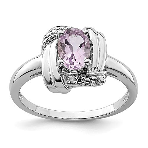 925 Sterling Silver Diamond Pink Quartz Band Ring Size 8.00 Gemstone Fine Jewelry Gifts For Women For Her