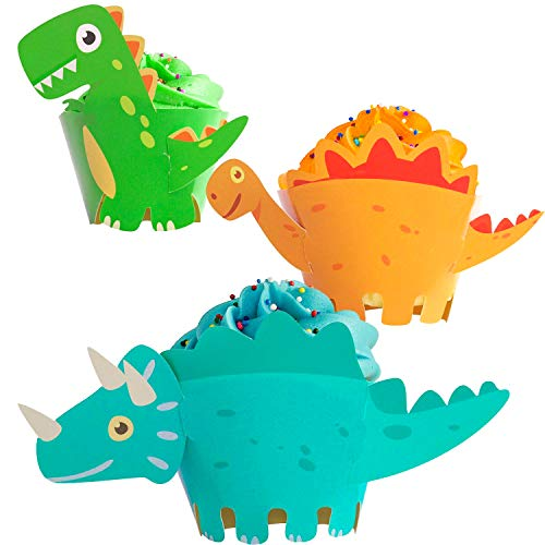 Moon Boat Dinosaur Cupcake Wrappers Toppers Party Supplies Birthday Dino Cake Decorations Jurassic - T-Rex/Triceratops/Spinosaurus 45 PCS -