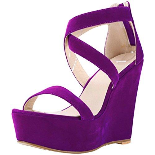 Mujer Cuna de Plataforma Sandalias Decoradas Mujer Tacón Púrpura con para con WanYang Cuña Sandalias de Sandalias para 0OYqpE