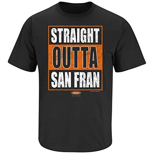 San Francisco Baseball Fans. Straight Outta San Fran. Black T Shirt (Sm-5X) (Short Sleeve, 3XL) (San Fran Giants Cap)
