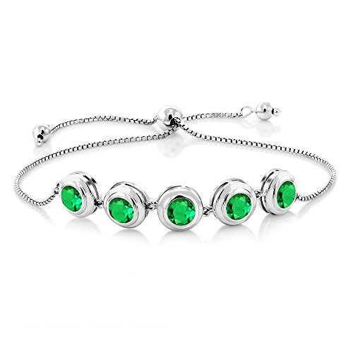Emerald Fine Watch (3.85 Ct Round Green Simulated Emerald 925 Sterling Silver Bracelet)