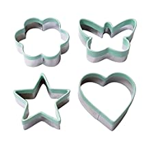 Ecoart Cookie Cutter Set - Star Flower Heart Butterfly Biscuit Cutters - Stainless Steel Sandwich Cutters / Vegetable Cutters Shapes Set with Comfort Grip for Kids & Adults (Set of 4)