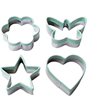 Ecoart Cookie Biscuit Cake Cutter Mold Stainless Steel Pastry Baking Moulds Star Flower Heart Butterfly Shapes Sandwich Cutter/Vegetable Cutter for Kids & Adults (Set of 4)