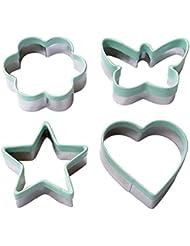 Ecoart Cookie Cutter Set - Star Flower Heart Butterfly Shapes Biscuit Cutter - Stainless Steel Sandwich Cutter / Vegetable Cutter for Kids & Adults (Set of 4)