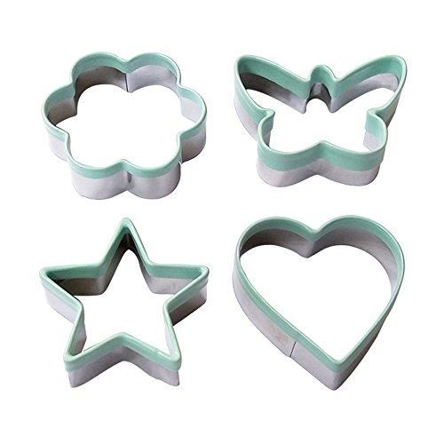 Butterfly Shape (Ecoart Cookie Cutter Set - Star Flower Heart Butterfly Shapes Biscuit Cutter - Stainless Steel Sandwich Cutter / Vegetable Cutter for Kids & Adults (Set of 4))