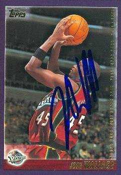 Autograph 119333 Detroit Pistons 2000 Topps No. 238 John Wallace Autographed Basketball Card