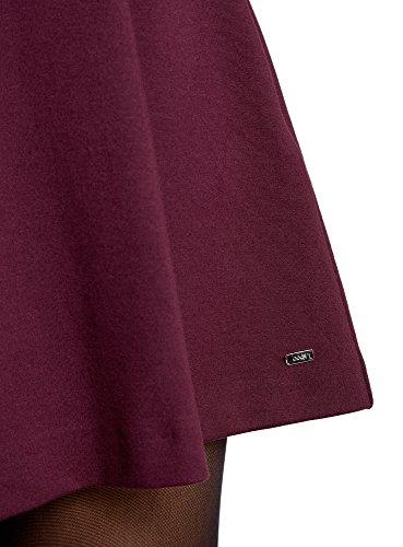 oodji Ultra Mujer Falda con Pliegues con Cintura Elástica Rojo (8800N)