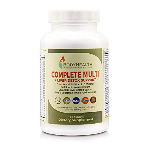 - Bodyhealth Complete Multi + Liver Detox Support (120 Tablets), Full Spectrum Antioxidant Multivitamins with 16 Whole Foods (Wheatgrass, Spirulina, Etc) Nutrition, Vitamin & Minerals Supplements
