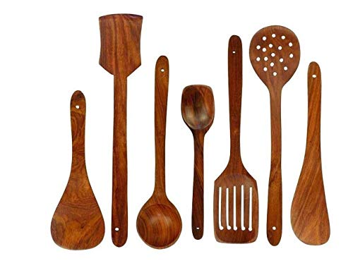 Dime Store Wooden Serving and Cooking Spoons Set Kitchen Organizer Items Kitchen Accessories Items (Set of 7, Sheesham)