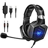 ONIKUMA Gaming HeadsetStereo PS4 Headset with Flexible 360°Mic Surround Sound Over-Ear Xbox one Headset with Noise Cancelling Gaming Headphone LED Lights Volume Mute Control for Phones Laptop Mac PC