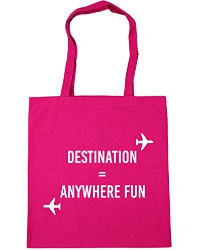 HippoWarehouse destino cualquier lugar diversión bolsa de la compra bolsa de playa 42cm x38cm, 10litros fucsia
