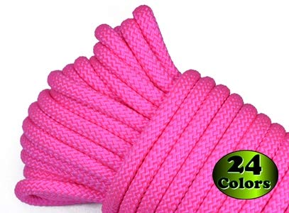 Nylon Utility Rope - Polypropylene Outer Sheath - for Cargo, Crafts, Tie-Downs, Marine, Camping, Swings, Hiking - Neon Pink 100 Feet