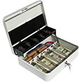 Cash Box with Money Tray | Petty Cash Lock Box | Includes Tiered Design with Cash Tray for Bills and Coins | Portable Money Box | Ideal for Cash Registers and Petty Cash | Secure Lock with 2 Keys