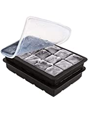 2 Pack Silicone Ice Cube Trays with Lids, Food Grade and BPA Free Reusable Ice Maker with Lid Easy Release Ice Cube Mold for Chilling Whiskey Wine Cocktail Beverages Juice (Black+Black)