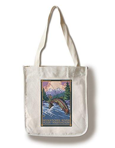 (Lantern Press Plain, Washington - Angler Fly Fishing Scene (Leaping Trout) (100% Cotton Tote Bag - Reusable))