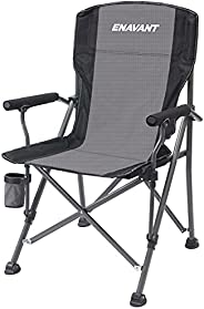 ENAVANT Portable Camping Folding Chair with Carrying Bag, Cup Holder Included, Holds up to 450 lbs (Grey/Black