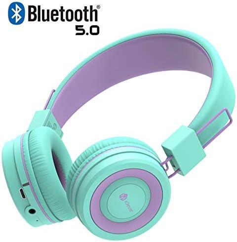 iClever Kids Bluetooth Headphones – Headphones for Kids with MIC, Volume Control Adjustable Headband, Foldable – Childrens Headphones on Ear for iPad Tablet Kindle Airplane School,Green Purple
