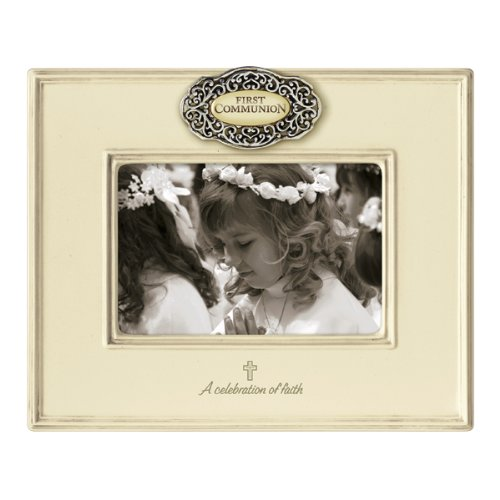Grasslands Road Everything's Relative Antique White Ceramic Glaze First Communion Frame, Holds a 4 by 6-Inch Photo