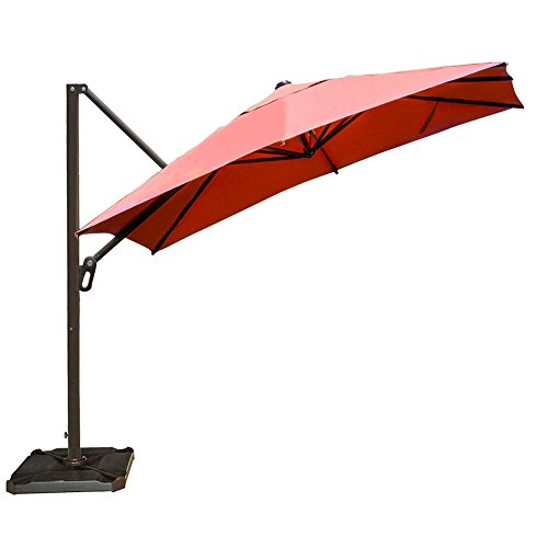 (Abba Patio 10 ft Square Easy Open Offset Outdoor Umbrella Square Parasol with Cross Base, Dark Red)