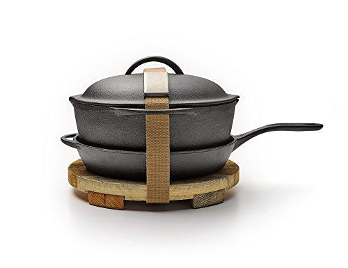Barebones | Cast Iron Kit, 12 Inch Skillet & Crock Pot with Lid, Trivet, Cleaning Mesh
