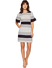 Womens Bell Sleeve Novelty Stripe Dress