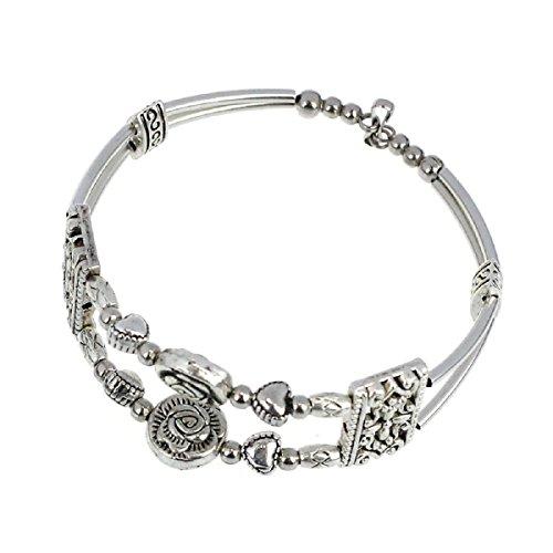 Doinshop New Nice Fashion Tibetan Silver Retro Women Hand Chain Bracelet Jewelry (Rose)