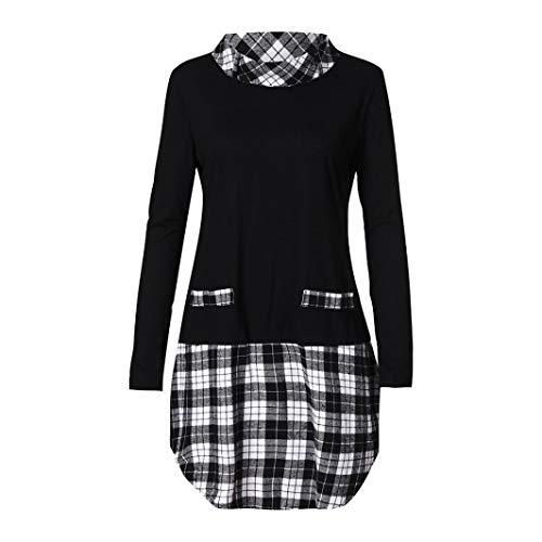 Promotion! Seaintheson Women Blouse Clearance! Women 's Plus Size Autumn Winter Long Sleeve Tee Plaid Patchwork Tops ()
