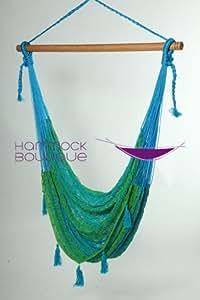 Savannah LIME & BLUE Chair Hammock COTTON Thick Cord woven, LARGE
