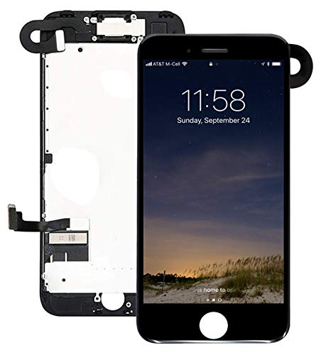 Pre-Assembled Screen Replacement for iPhone 7 Black, LCD Display and Touch Screen Digitizer Replacement for A1660, A1779, A1778 w/Facing Proximity Sensor, Ear Speaker, Front Camera and Repair Tools (I Phone Speaker Replacement)