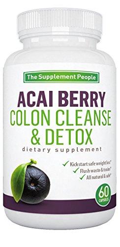 Acai Berry Colon Cleanse & Detox suplemento herbario para la pérdida de peso fácil Colon salud y Super Detox dieta 60 cápsulas naturales para los hombres y las mujeres sanan hígado parásitos ras colon estreñimiento Beat