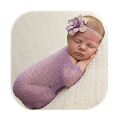 Vemonllas Luxury Stretch Newborn Boy Girl Baby Photography Props Wrap Yarn Cloth Blanket (Dark Purple): Clothing