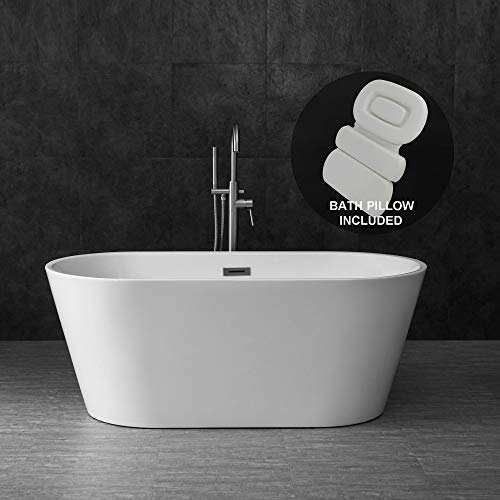 WOODBRIDGE 59' Acrylic Freestanding Contemporary Soaking Tub with Brushed Nickel Overflow and Drain, Including Bathtub Spa, B-0014 + Pillow