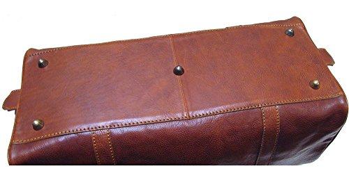 - Floto Roma Cabin Bag Saddle Brown Italian Leather Weekender Duffle