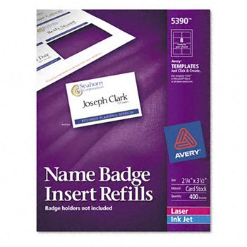 Avery® Additional White Laser Inserts for Badge Holders REFILL,F/5883,NAMETAG,400 T059920 (Pack of5) ()