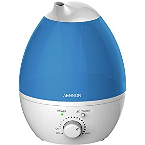 Aennon Cool Mist Humidifier Improves Health, Skin, Mood, Sleep, Focus – Breath Better with Clean & Fresh Air – 20 Hours+ Use for Home Baby Room Bedroom Office, Ultrasonic Humidifiers