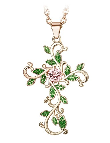Finrezio Pink Cubic Zirconia Cross Pendant Necklace for Women Gold-Plated Chain Necklace Jewelry Gift