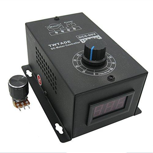 TWTADE/DC Motor Controller Motor Speed Control 6V-90V 15A 1000W 16KHZ Speed Regulator Module Support PLC Control Speed Controller Dimmer Governor Regulation Output Voltage LED Display + -