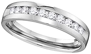 14kt White Gold Womens Round Channel-set Diamond Wedding Band 1/2 Cttw