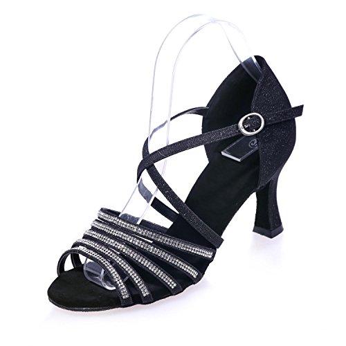 L@YC Zapatos De Baile De Mujer Sandalias De Seda Latinas HabitacióN De Tacones altos Flash Fino Con 7.5 / Large Yards Black