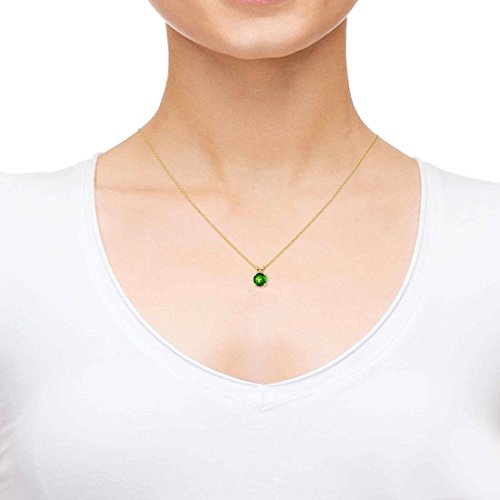 Nano Jewelry Gold Plated Zodiac Pendant Taurus Necklace 24k Gold inscribed on Green Crystal, 18""