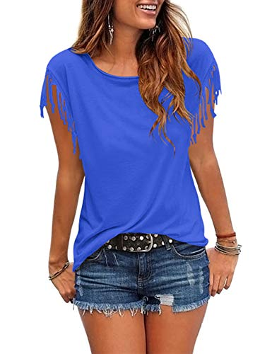 Womens Tassel Short Sleeve Round Neck T-Shirt Top Casual Summer Tee (A8-Blue2, XX-Large) ()