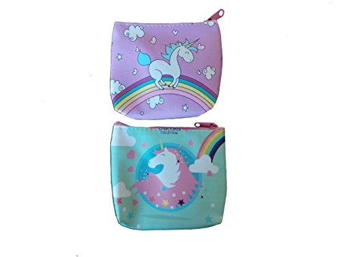 Cute Animated Drawn Unicorn Themed Coin Purse Wallet Perfect Gift for Girlfriend Wife Spouse (Set of 2 Coin Purses - Lavender, Sea Foam Green)