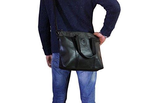 FERETI bolso mensagero grande en cuero y fibra carbono para ordenador portatil Y FIBRA DE CARBONO