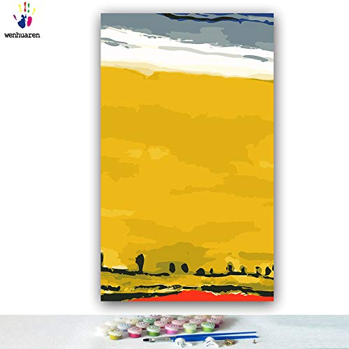 Paint by Number Kits 12 x 20 inch Canvas DIY Oil Painting for Kids, Students, Adults Beginner with Brushes and Acrylic Pigment -World Famous Painting Mondrian Variation(Without Frame)