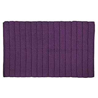 """DII Cotton Ultra Absorbent Soft Luxury Spa Ribbed Bath Mat or Rug Place in Front of Shower, Vanity, Bath Tub, Sink, and Toilet 17x24"""" Eggplant"""