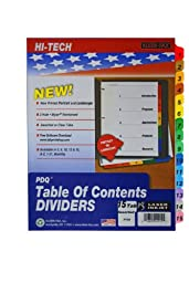 Kleer-Fax PDQ Table of Contents Dividers, 15 Tab Set, One Set, Assorted Colors, 41915