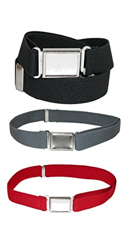 CTM Kids' Elastic Adjustable Belt with Magnetic Buckle (Pack of 3 Colors), Black/Charcoal/Red -