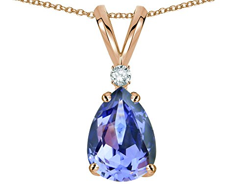 Star K Classic Pear Shape 8x6mm Genuine Tanzanite Rabbit Ear Pendant Necklace 14 kt Rose Gold