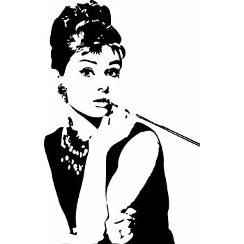 Audrey Hepburn Breakfast At Tiffanyu0027s Wall Sticker Decal   Silhouette  Decoration   15 In. Black Part 27